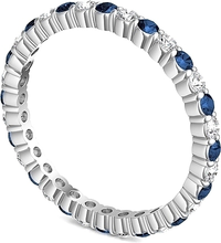 Load image into Gallery viewer, Sapphire & Diamond Round Brilliant Eternity Ring