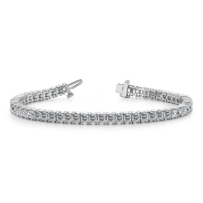 18k White Gold Princess Cut Diamond Tennis Bracelet - 9.35cts