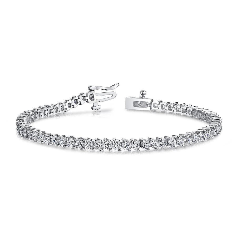 18k White Gold Diamond Tennis Bracelet - 2.98ctw