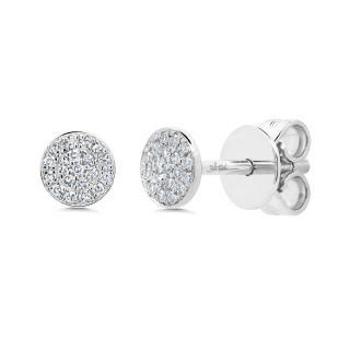 14k White Gold Pave Diamond Disc Earrings