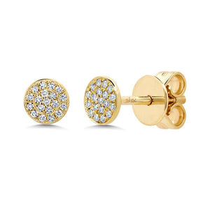 14k Yellow Gold Diamond Disc Studs