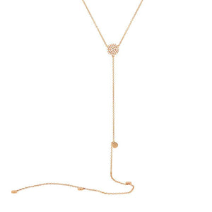 14k Rose Gold Diamond Lariat Necklace