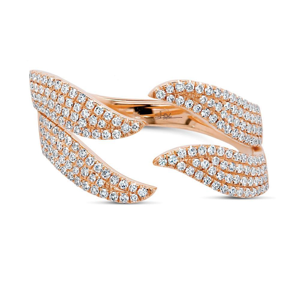 14k Rose Gold Diamond Wave Ring