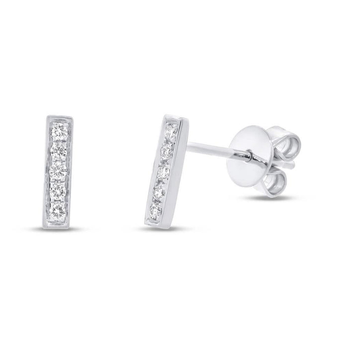 14k White Gold Diamond Bar Earrings