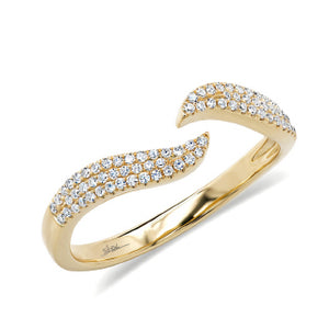 14k Yellow Gold Diamond Wave Ring