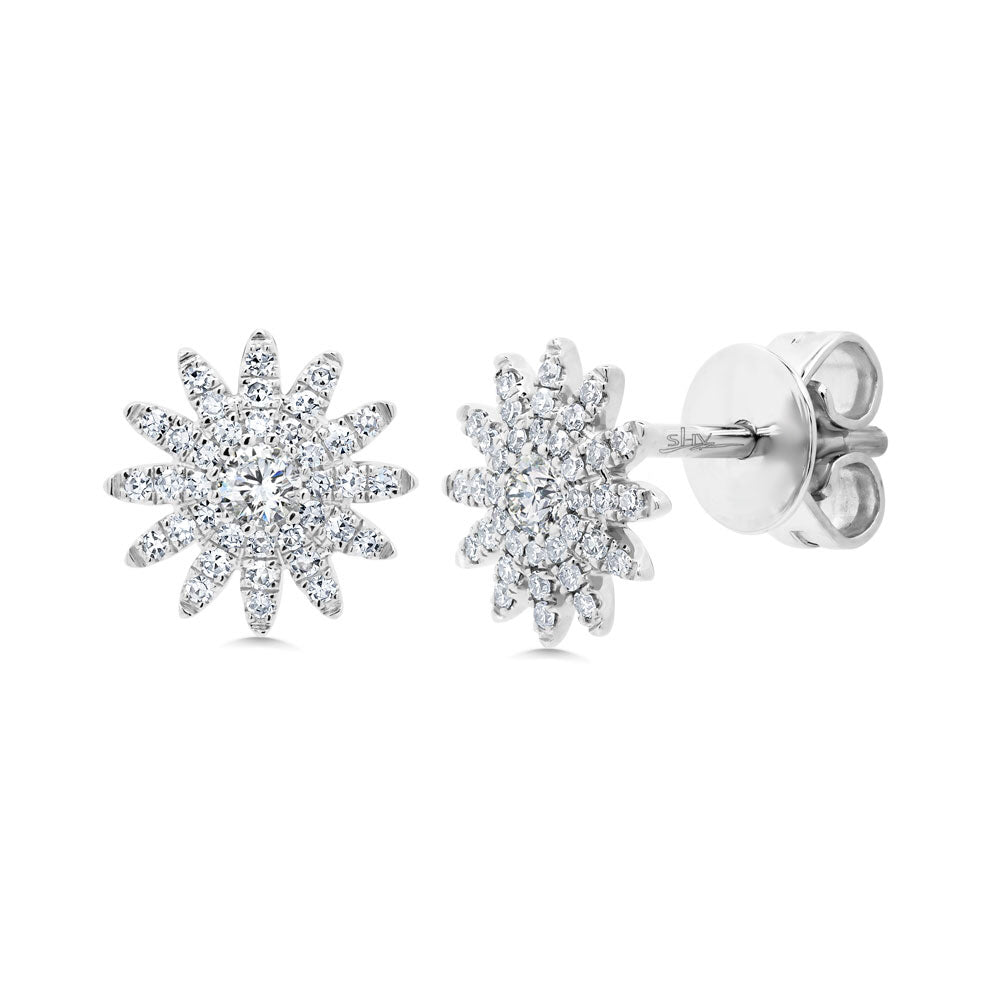 14k White Gold Diamond Star Earrings