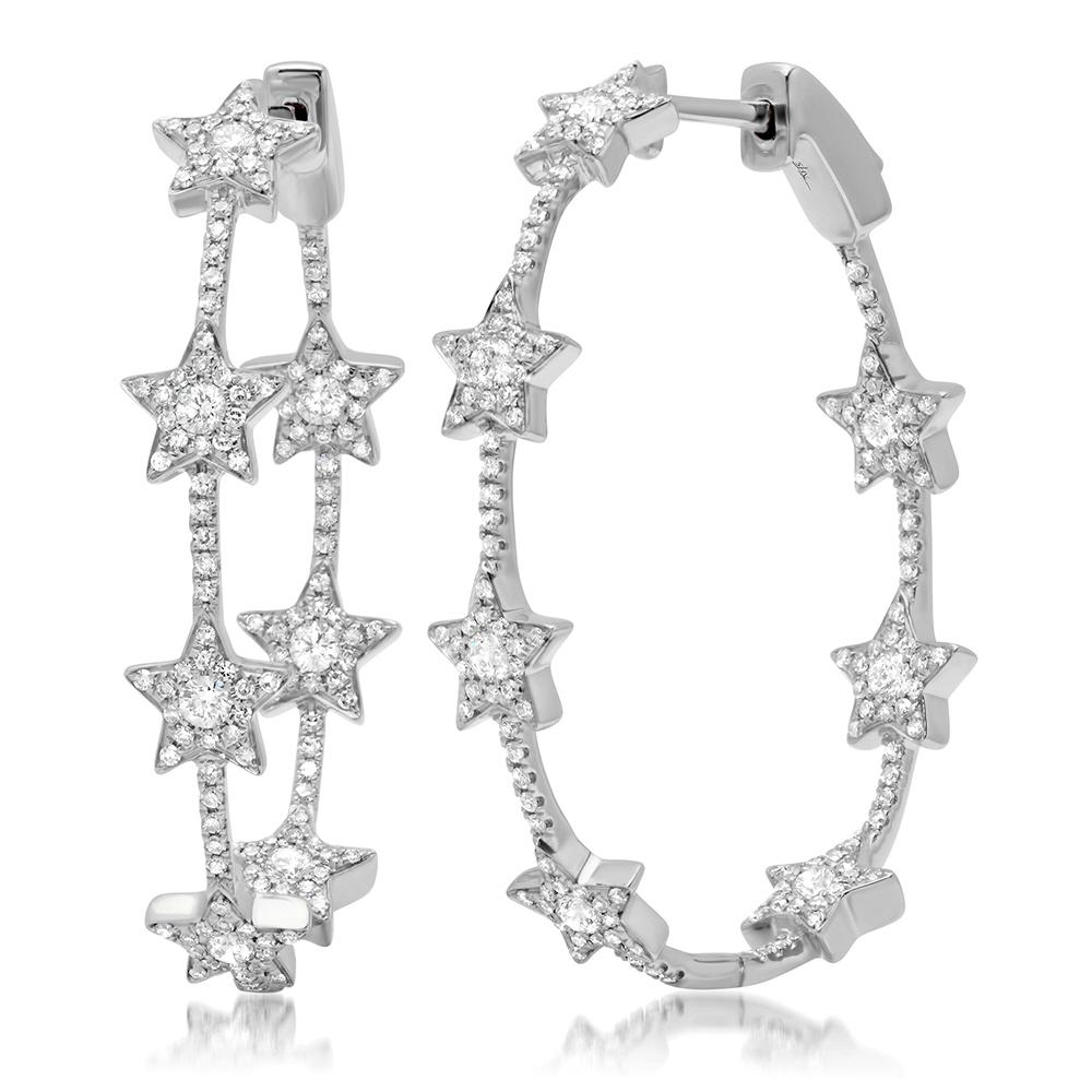 14k White Gold Diamond Star Hoop Earrings