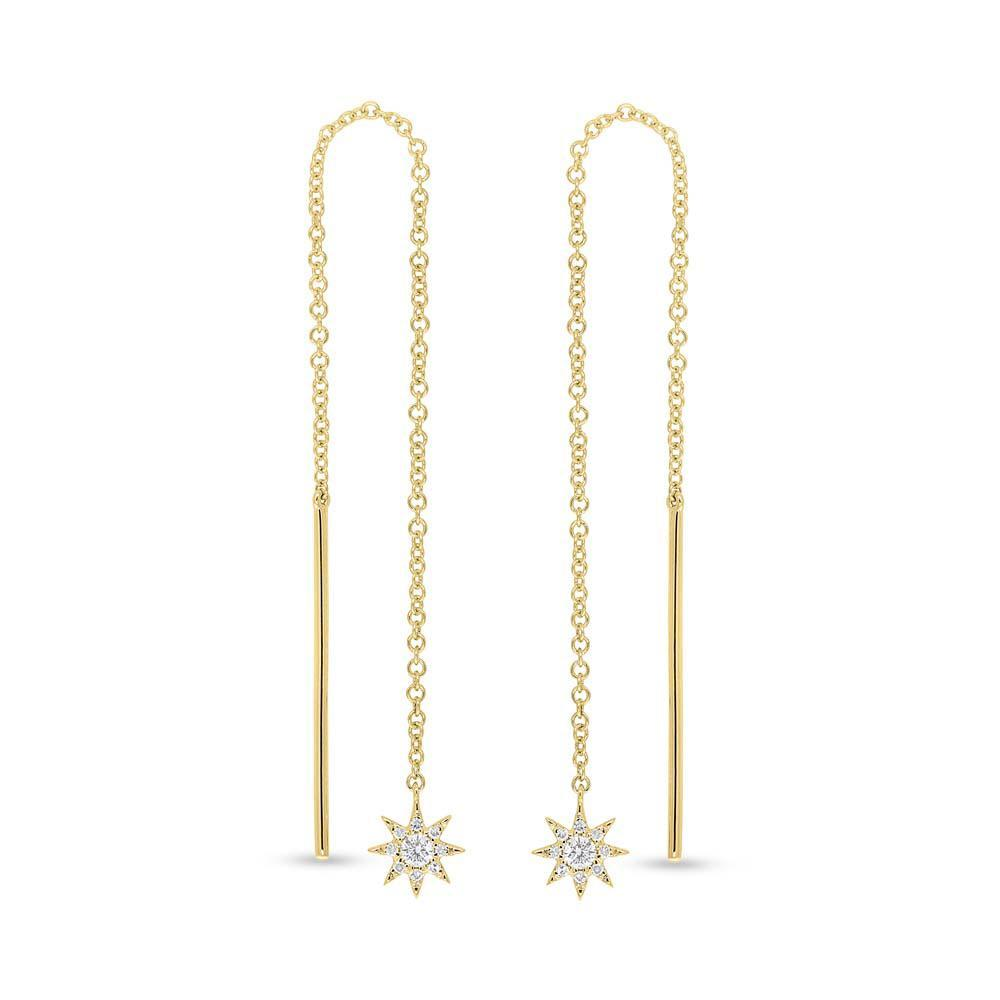 14k Yellow Gold Diamond Star Threader Earrings