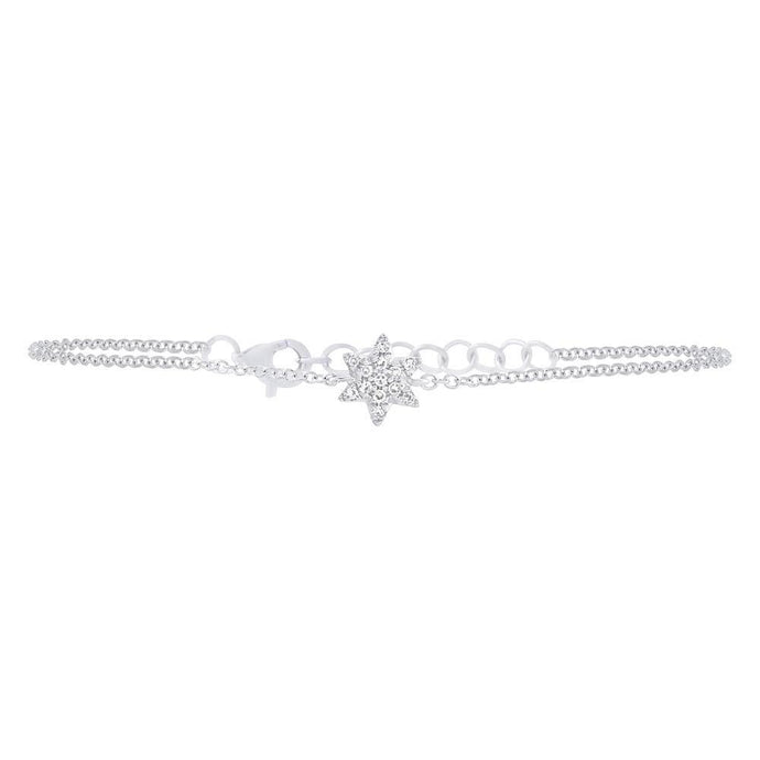 14k White Gold Diamond Star of David Bracelet