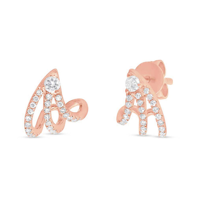 14k Rose Gold Diamond Earrings