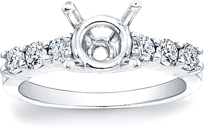 Shared Prong Round Brilliant Diamond Engagement Ring- 1/2ct tw