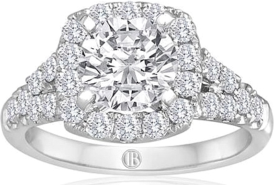 Signature Pave Split Shank Diamond Engagement Ring
