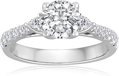 Signature Pave Three Stone Diamond Engagement Ring