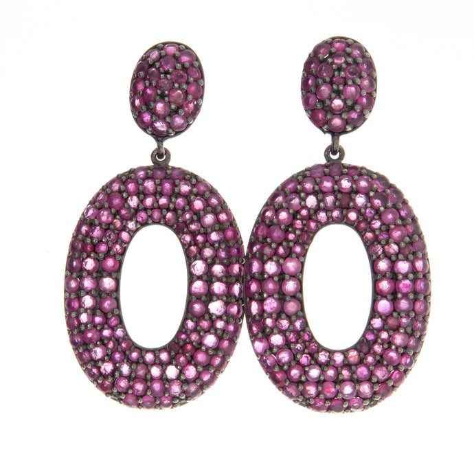 1.50ct Silver Ruby Drop Earrings