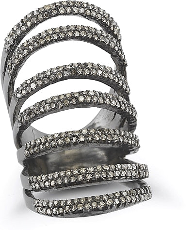 Silver & Black Rhodium Diamond Ring