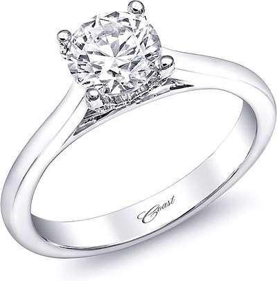 Solitaire Diamond Setting w/ Pave Profile Accents