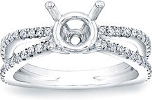 Load image into Gallery viewer, Split Shank Pave Diamond Engagement Ring