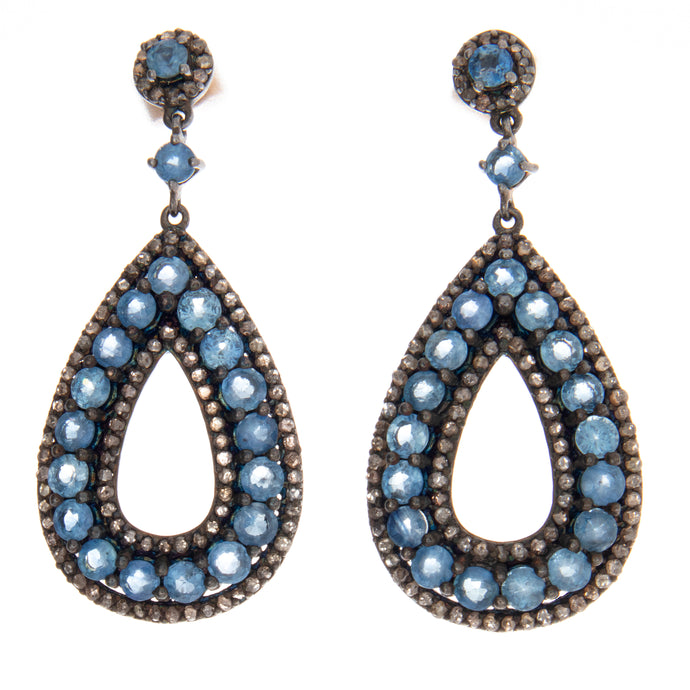 Sterling Silver Diamond and Sapphire Drop Earrings