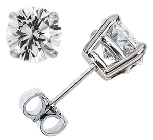 7.00CTW Round Brilliant Diamond Stud Earrings - G-H SI