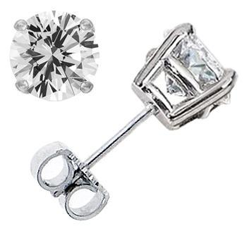 2.00CTW Round Brilliant Diamond Stud Earrings - G-H SI