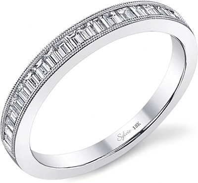 Sylvie Baguette Diamond Wedding Band