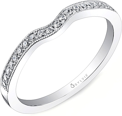 Sylvie Contoured Pave Diamond Wedding Band