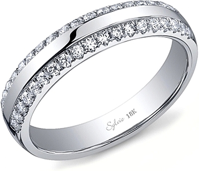 Sylvie Double Row Diamond Wedding Band