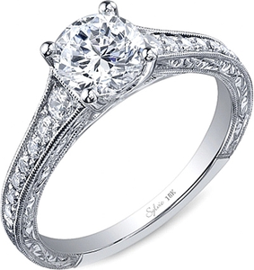Sylvie Engraved Diamond Engagement Ring