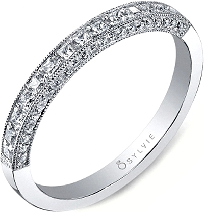 Sylvie Princess Cut Diamond Wedding Band