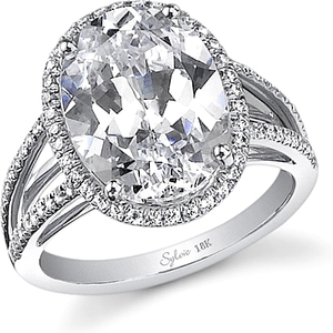 Sylvie Split Shank Halo Diamond Engagement Ring