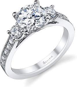 Sylvie Three Stone Diamond Engagement Ring