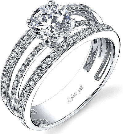 Sylvie Triple Band Diamond Engagement Ring