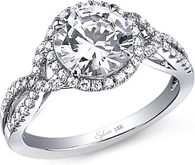 Sylvie Twist Shank Halo Diamond Engagement Ring