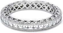 Tacori Channel-Set Square Emerald Cut and Round Pave Diamond Eternity Band