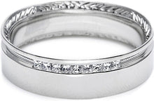 Load image into Gallery viewer, Tacori Engraved and Pave Diamond Wedding Band -6.5mm