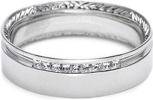 Tacori Engraved and Pave Diamond Wedding Band -6.5mm