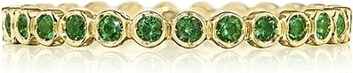 Tacori Green Emerald Bezel Set Wedding Band