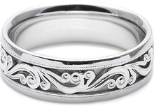 Load image into Gallery viewer, Tacori Mens Wedding Band With Hand Engraved Scroll Work -7.5mm