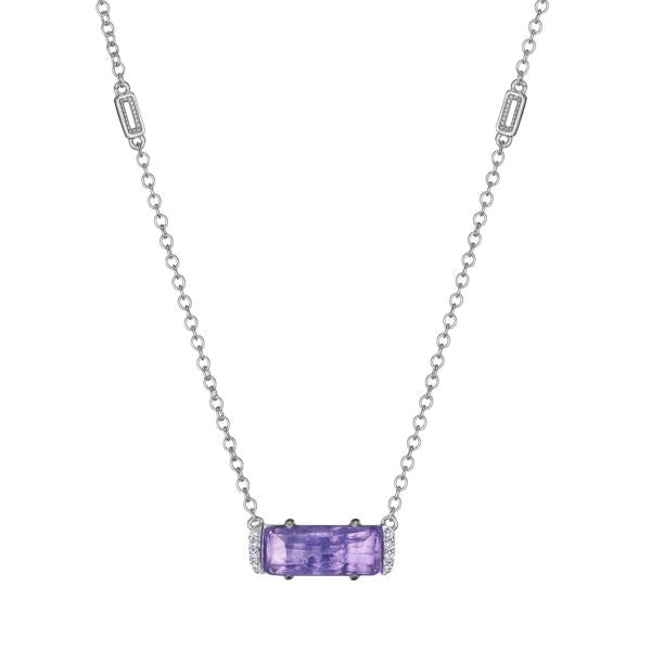 Tacori Sterling Silver Amethyst & Diamond Necklace