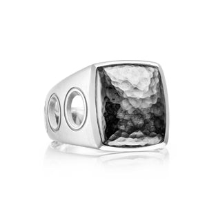 Monterey Roadster Vented Hammered Silver Ring
