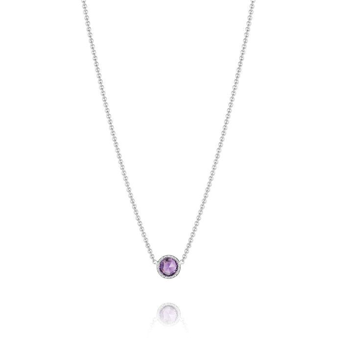 Lilac Blossoms Petite Floating Bezel Necklace
