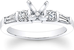 Tapered Baguette & Round Brilliant Cut Diamond Engagement Ring