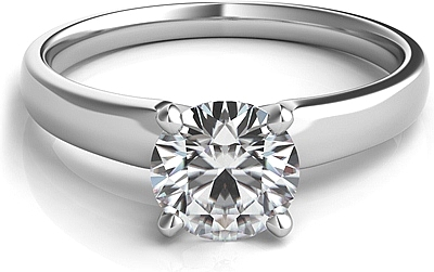 Tapered Four Prong Diamond Solitaire Engagement Ring