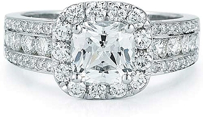 Three Row Pave & Channel Diamond Engagement Ring