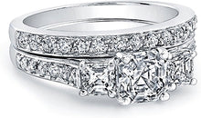 Three Stone Asscher Cut Diamond Ring w/ Pave Accents