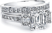 Load image into Gallery viewer, Three Stone Emerald Cut Engagement Ring w/ Square Emerald Channel-Set Side Stones