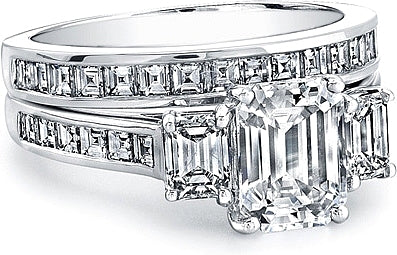This Gorgeous Three Stone Engagement Ring Setting Features Two Emerald Cut Side Diamonds Totaling Approx 64ct In Addition The Setting Has Square Emerald Cuts That Are Channel Set And Go Half Way Around The