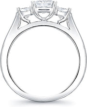 Load image into Gallery viewer, Three Stone Princess Cut Diamond Engagement Ring