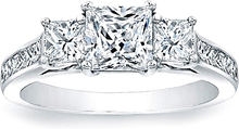 Load image into Gallery viewer, Three Stone Princess Cut Engagement Ring w/ Channel Set Princess Sidestones