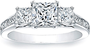 Three Stone Princess Cut Engagement Ring w/ Channel Set Princess Sidestones